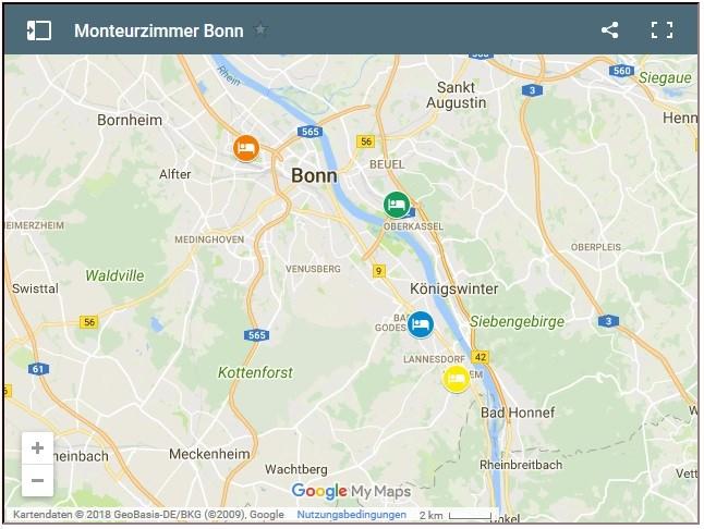 Bonn Karte.Monteurzimmer Bonn Bonn Günstige Monteurzimmer