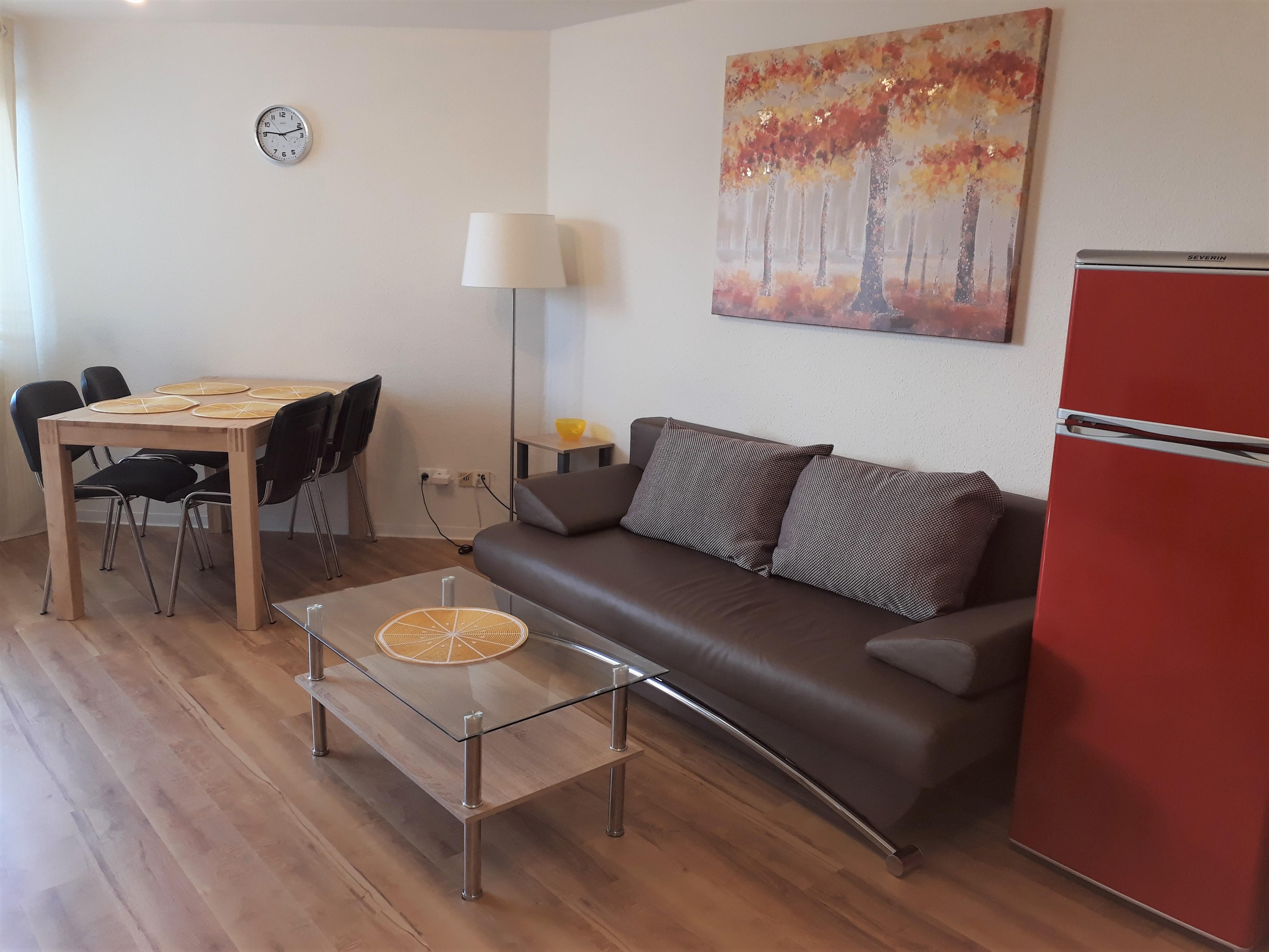 Monteurzimmer: Wohnzimmer Mit Dem Schlafcouch   Gemütliche Moderne Wohnung  / Monteurzimmer Nähe Heidelberg